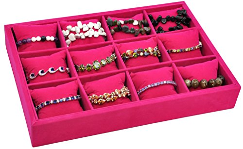 Jewelry Organizer Jewelry Tray Velvet Rose Red Jewelry Watch Storage Box 12 Slots Pillows Stackable