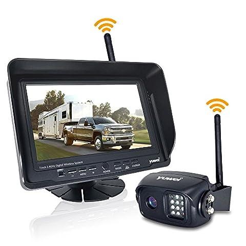 Digital Wireless Backup Camera System Kit, IP69K Waterproof Wireless Rear View Camera + 7'' LCD Wireless Reversing Monitor for Trailer, RV, Bus, Trucks, Horse-trailer, School Bus, Farm - Rear View Backup Camera System