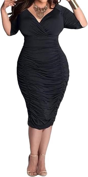 Amazon Lasuiveur Ladies Plunge Pleated Party Dresses Plus Size