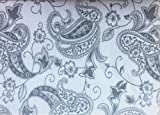 Dormisette 4 Piece King Luxury Cotton Flannel Sheet Set Solid Medium Gray Jacobean Floral Paisley Pattern on Cream