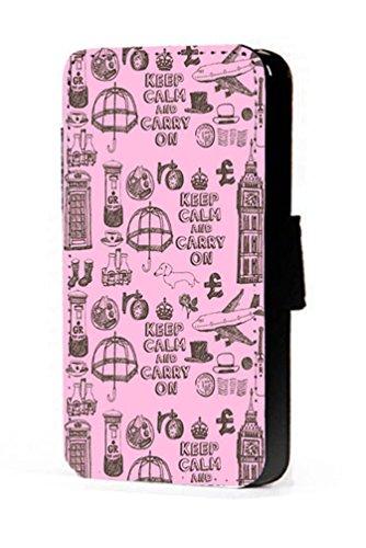 Croquis Londres Pêle Mêle Rose Téléphone portable étui portefeuille en imitation cuir pour iPhone 45C 6S Samsung S6S5S4S3Mini, Cuir synthétique, rose, Samsung Galaxy S3 Mini