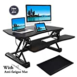 Hans & Alice 36'' Height Adjustable Stand Up Office Desk Standing Desk Riser, Sit Stand Desk Converter with Free Non-slip Anti-fatigue Comfort Mat