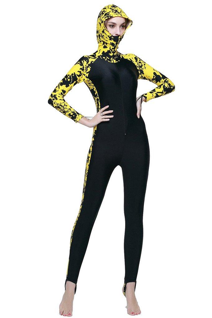 ファッションの Micosuza レディース フルボディ水着 スイムスーツ 全身カバー イエロー - 長ズボン長袖 UV保護 UV保護 ワンピースラッシュガード 34.5