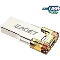 EAGET USB 3.0 Flash Drive 32GB Micro USB Thumb Drive Metal OTG Keychain Attachable High Speed V80
