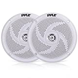 Pyle Marine Speakers - 4 Inch 2 Way Waterproof and Weather Resistant Outdoor Audio Stereo Sound System with 100 Watt Power and Low Profile Slim Style Design - 1 Pair - PLMRS4W (White)