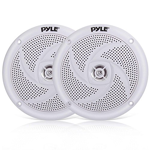 (Pyle Marine Speakers - 4 Inch 2 Way Waterproof and Weather Resistant Outdoor Audio Stereo Sound System with 100 Watt Power and Low Profile Slim Style Design - 1 Pair - PLMRS4W (White))
