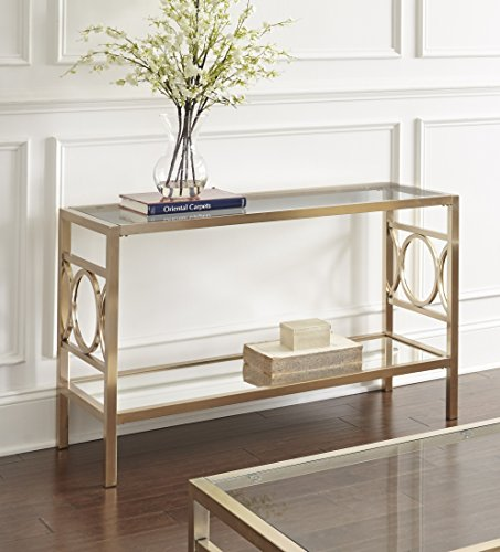 Steve Silver Olympia Glass Top Console Table in Gold Chrome by Steve Silver
