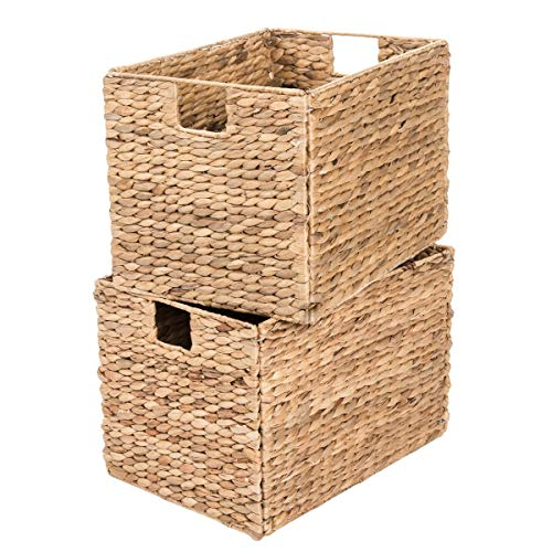 Decorative Hand-Woven Water Hyacinth Wicker Storage Baskets, Set of Six 16x11x11 Baskets Perfect for Shelving -