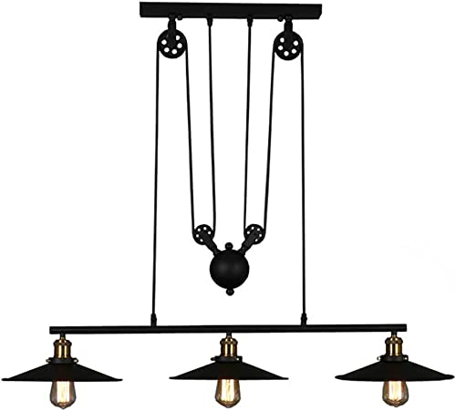 WINSOON Pool Table Lights Indoor Billiard 3 Black Shades Lamp Industrial Retro 3-Light Antique, Adjustable Hanging Pendant for Bar Game Room Beer Party Caf