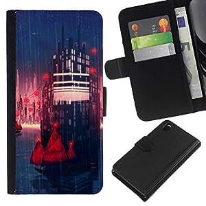 // PHONE CASE GIFT // Moda Estuche Funda de Cuero Billetera Tarjeta de crédito dinero bolsa Cubierta de proteccion Caso Sony Xperia Z3 D6603 / Sci Fi City /