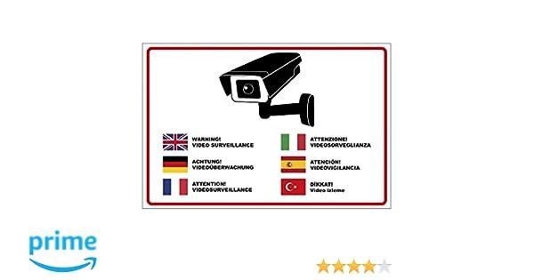 Panneau « Attention vidéosurveillance » en plusieurs langues en mousse dure PVC 300 x 200 mm – 3 mm dépaisseur