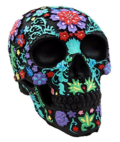 Day Collectible - Atlantic Collectibles Day Of The Dead Black Multi Colored Floral Tattoo Skull Figurine 8.25