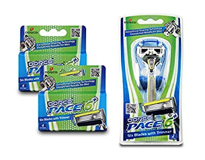 Dorco Pace 6 Plus- Six Blade Razor System with Trimmer