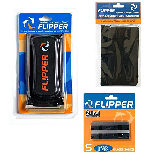 Flipper Standard 2 in 1 Magnet Aquarium Algae Cleaner (Glass or Acrylic) w/Replacement Blades and Pads Bundle