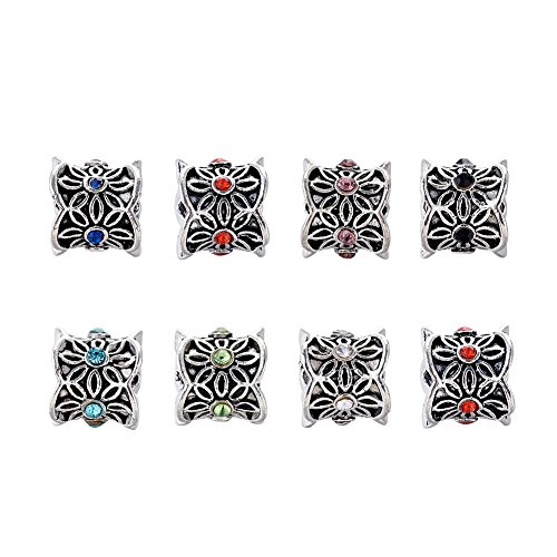 Beadthoven 50pcs 9x10mm Alloy Column Metal Beads Spacers Tibetan Style Flower Antique Silver Plated with Rhinestone Large Hole European Beads Multi-Color Assorted Jewelry Beading Bracelets DIY ()