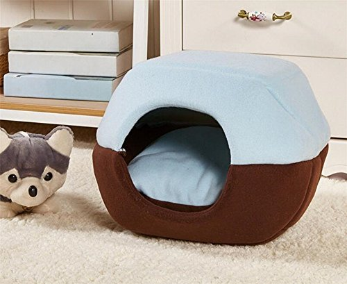 Cheap Yurts Design Cute Soft Cotton Pet Dog Cat House Kennel Doggy Bed Cushion (L, Blue)