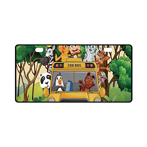 Balloon Zoo - YOLIYANA Zoo Utility License Plate,Animals with Balloons Riding on a Zoo Bus Travel Road Journey in Wilderness Scenery Decorative for Car,11.8