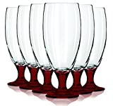 Libbey Red Short Pilsner Glasses with Colored Accent – 16 oz. Set of 6- Additional Vibrant Colors Available by TableTop King Review