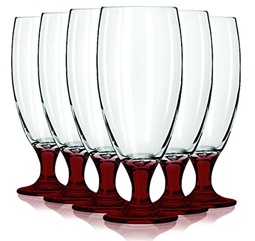 Libbey Red Short Pilsner Glasses with Colored Accent - 16 oz. Set of 6