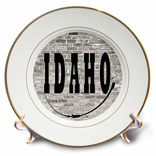 3dRose RinaPiro - US States - Idaho. State Capital is Boise. - 8 inch Porcelain Plate (Boise State Desk Clock)