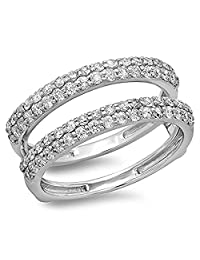 RSJ Global Unique Design 14K White Gold Plated 1.00 ct Created Simulated Diamonds Anniversary Wedding Band Enhancer Guard Double Ring (Free Size) Alloy
