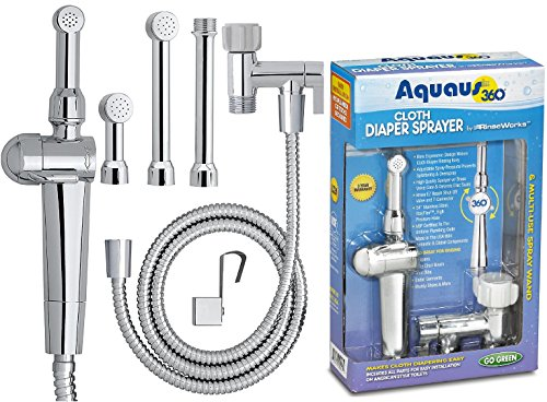 RinseWorks – Patented Aquaus 360 Diaper Sprayer - NSF Certified for Legal Installation - 3 Year Warranty – Dual Spray Pressure Controls – SafeSpray Valve Core, StayFlex Hose