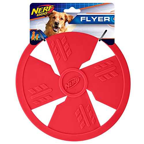 Nerf Dog TPR Float Flyer Flying Disc Dog Toy, Large, Red