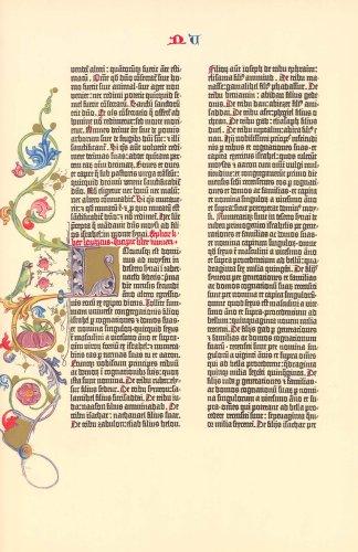 (Gutenberg Bible Numbers Illuminated Facsimile Leaf 1961)