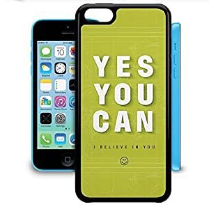 Bumper Phone Case For Apple iPhone 5C - Yes You Can Motivational Quote Protective Soft Edge
