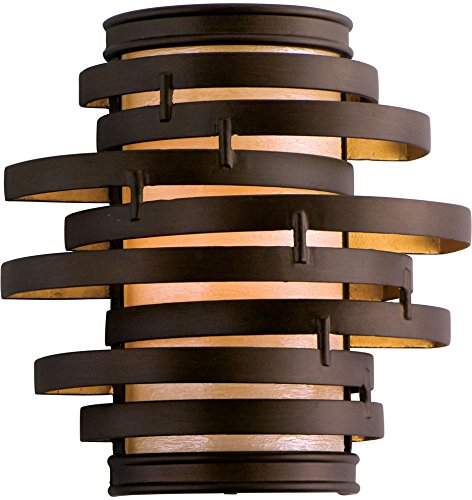 - Corbett 113-11, Vertigo Wall Sconce Lighting, 1 Light, 13 Total Watts, Bronze/Gold Leaf