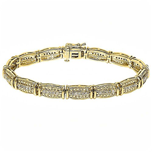 1.00ctw Rough Faceted Diamond Line Set 14K Yellow Gold Plated Bracelet 7.5″