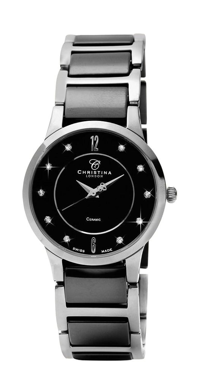 Design Christina London Dream Women'Keramik-Quarz-Uhr mit schwarzem Zifferblatt Analog-Anzeige und Zwei-Ton-Armband