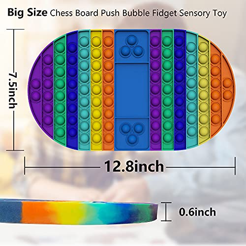 XEVFITN Big Size Pop Game Board Fidget Toy Jumbo Rainbow Push Bubble Sensory Popper Fidget Toys Extra Large Giant Mega Huge Toy for Autistic Special Needs Anxiety Stress Relief Kids Girls Boys