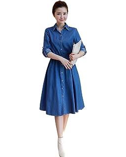 2159e0c265d Drasawee Women s Midi Denim Dress Long Sleeves A-Line Button Jean Belted  Dresses