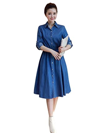 831c6aaa3d DRASAWEE Women s Midi Denim Dress Long Sleeves A-Line Button Jean Belted Dresses  Blue S