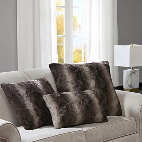 Madison Park Zuri Faux Fur Animal Throw Pillow, Luxury Square Decorative Pillow, 20X20, Chocolate