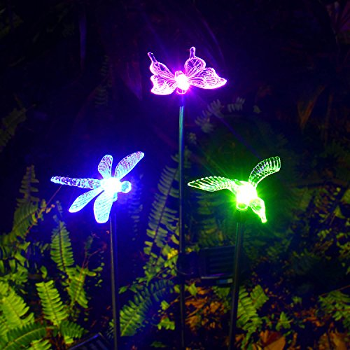 Oxyled solar garden lights 3 pack solar garden stake light import it all for Solar garden stakes color changing