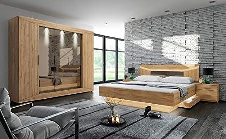 Schlafzimmer Set \'Rubina 2\' Bett 2 Nachttische Schrank inkl ...