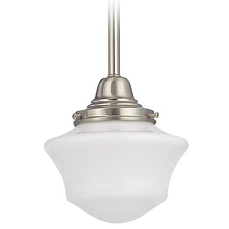 6 inch hanging schoolhouse mini pendant light in satin nickel finish