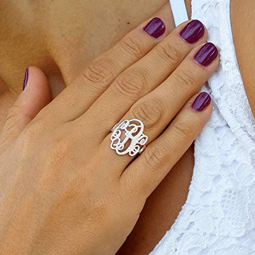 Custom Made Monogram Ring - Any Initials Personalized Jewelry - Gift For Mom 925 Sterling Silver ()