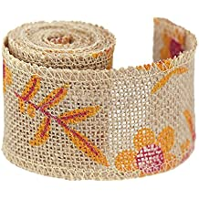 """FiveSeasonStuff Natural Burlap Ribbon Hessian Jute Ribbon Twine Roll with Colorful Printing Patterns, for Gift Packaging, Wedding Décor, Art Craft DIY, 2.4""""(Width) x 82.7""""(Length) (Yellow Red Flowers)"""