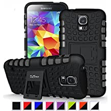 S5 Case ,Galaxy S5 Case, DLF Case [ Shockproof ] Samsung Galaxy S5 Case Heavy Duty Rugged Dual Layer TPU Textured Non Slip Reinforced Polycarbonate Hybrid Case for Samsung Galaxy S5 with Kickstand and Free Screen Protector (Black)