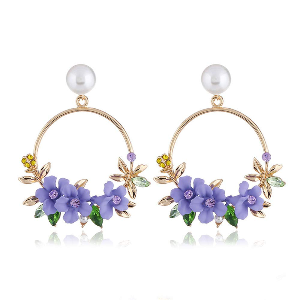 New fashion temperament flower earrings small fresh pearl sweet soft ceramic earrings earrings