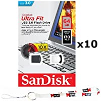 10 PACK - SanDisk Ultra Fit CZ43 64GB USB 3.0 Low-Profile Flash Drive High Speed up To 130MB/s Read (SDCZ43-064G) LOT OF 10