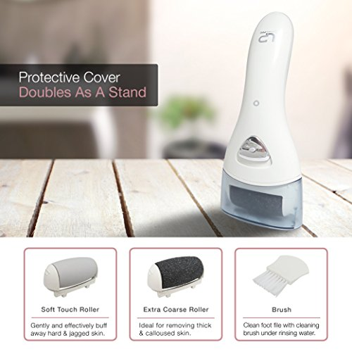 Electric Foot File, Rechargeable & Waterproof Callus Remover Pedicure Tools Ideal for Dead, Hard and Cracked Skin with Extra Roller Head and Cleaning Brush & Upgraded Two Speed Motor by LP LivingPro (Image #4)