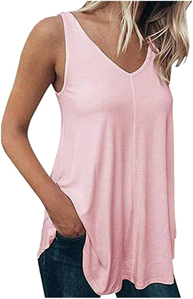 Meikosks Womens Sleeveless Tops Solid Color Vest Plus Size Loose Tank V-Neck Casual Blouses