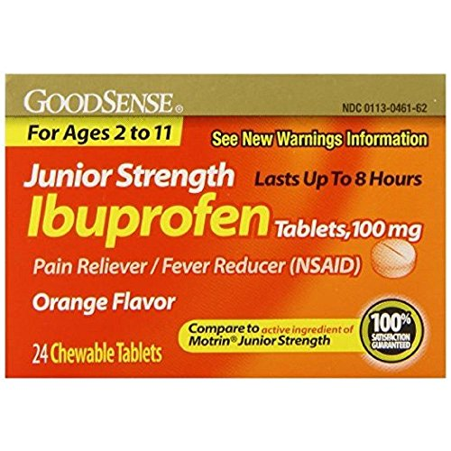 Good Sense Junior Strength Ibuprofen Pain Reliever/Fever Reducer Tablets, 100 mg 24 ea (Pack of 6) - Good Sense Ibuprofen