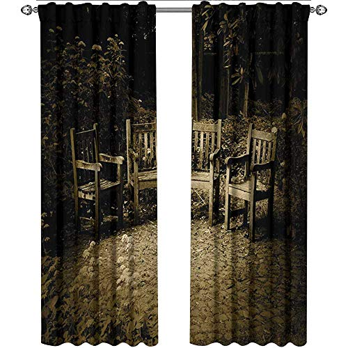 (Hobbits, Sound Curtains Noise Reducing, Four Small Wooden Rustic Chairs in Backyard Hobbit Land New Zealand Sepia Image, Curtains in Living Room, W84 x L96 Inch, Brown)