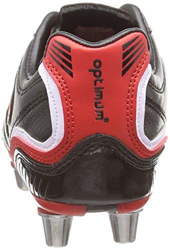 Optimum Blaze 3 - Zapatillas de rugby de Material Sintético para niño Negro/Rojo