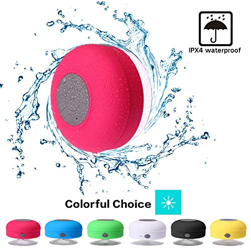 Mini Shower Speaker-Wireless, Waterproof Bluetooth Speaker, Hands-Free Portable Speakerphone with Built-in Mic TF Card Port, Micro USB Outdoor, Sports, Pool, Beach, Hiking, Camping